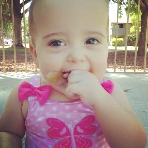 Anika Eating a Leaf